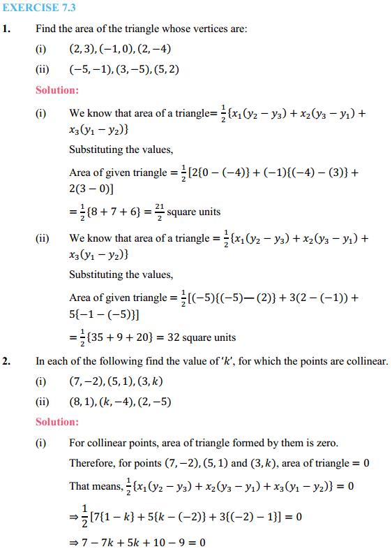 NCERT Solutions for Class 10 Maths Chapter 7 Coordinate Geometry Ex 7.3 1