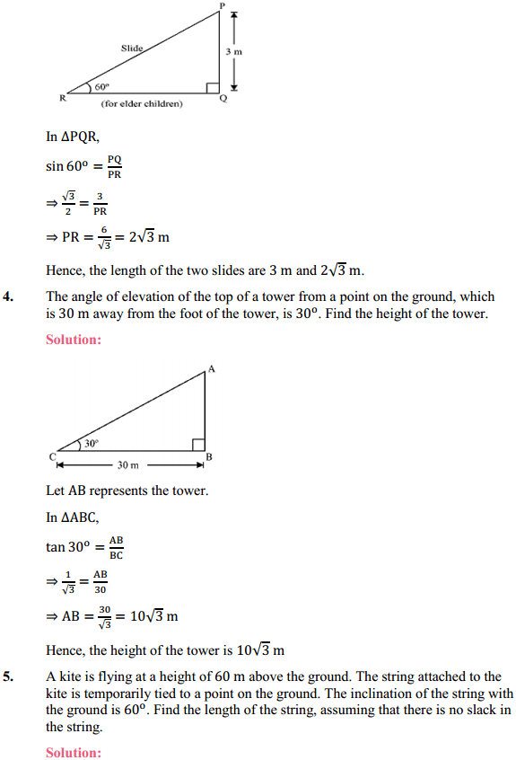 NCERT Solutions for Class 10 Maths Chapter 9 Some Applications of Trigonometry Ex 9.1 3