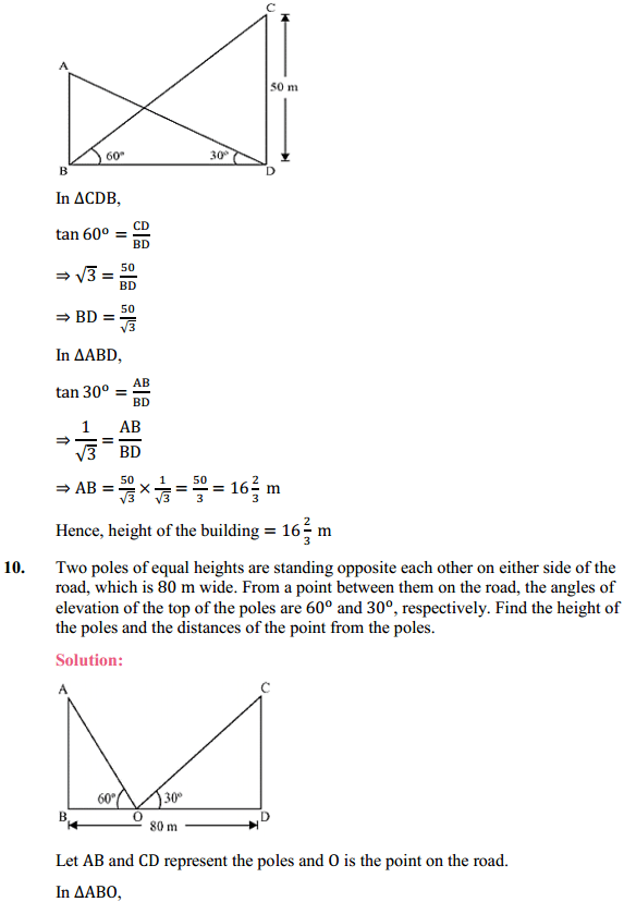NCERT Solutions for Class 10 Maths Chapter 9 Some Applications of Trigonometry Ex 9.1 7