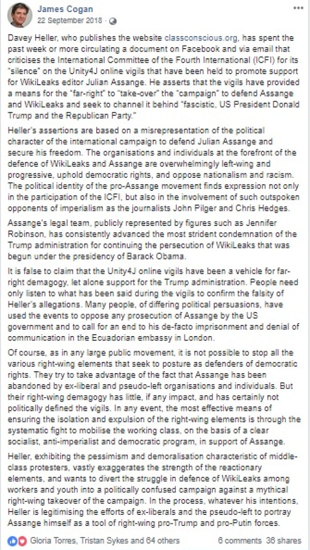 Response to James Cogan's defence of #Unity4J on Facebook