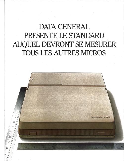 Data General Presente Le Standard Auquel Devront Se Mesurer Tous Les Autres Micros