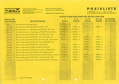 DTM Preislist 01-11-1977