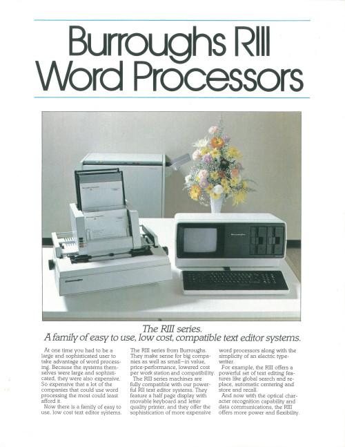 Burroughs RIII Word Processors