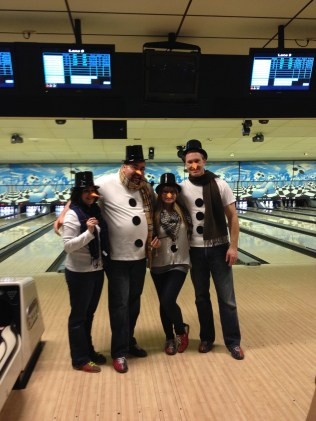 Coworkers all dressed & ready to bowl!