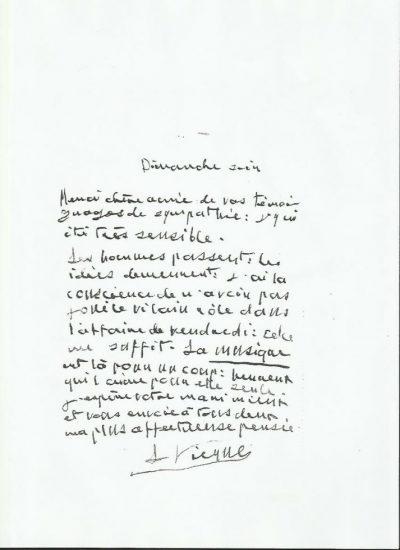 Lettre manuscrite de Louis Vierne