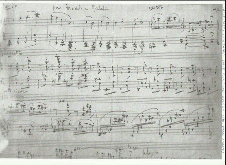 Manuscrit pour piano, Louis Vierne