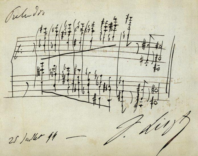 Autographe de Franz Liszt, Album d'autographes d'Eugène de Cessole.