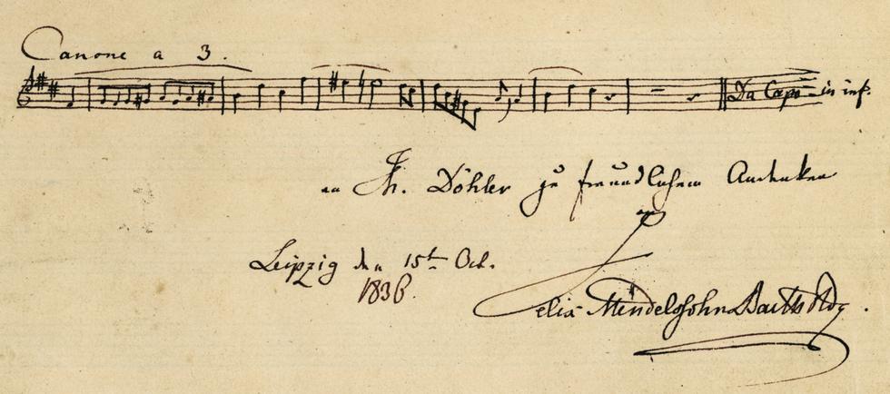 Autographe de Felix Mendelssohn, Album d'autographes d'Eugène de Cessole.