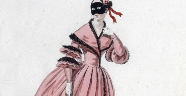 Production théâtrale de Le domino noir, opéra de Scribe et Auber : costume de Mlle Berthault (rôle de Brigitte), détail @ Gallica.bnf.fr - Bibliothéque Nationale de France