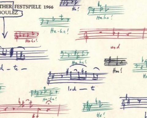 Carte postale du Festival de Bayreuth griffonnée par Stockhausen avec des thèmes de Wagner