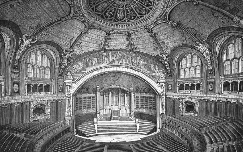 L'orgue du Trocadéro, premier orgue de concert francais, construit pour l'Exposition de 1879, aujourd'hui à l'Auditorium de Lyon (Morel, 1878)