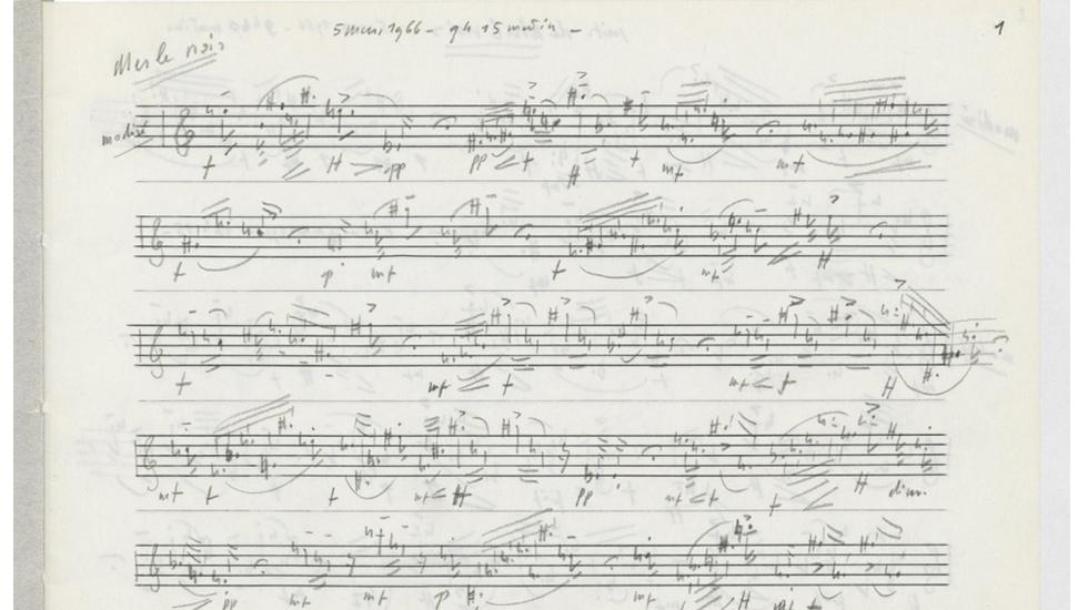 Une notation de chants d'oiseaux par Olivier Messiaen © Bibliothèque nationale de France (BnF)