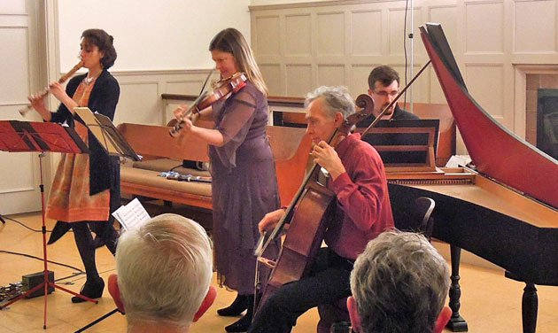 Sarah Cantor, recorder; Timotyh Merton, cello; and Matthew Hall, harpsichord (Mike Rocha photo)