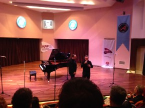 Emir Gamsizoglu with his teacher Huseyin Sermet 15th International Antalya Piano Festival