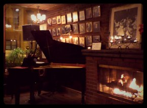Schubert and Mozart by the fireplace