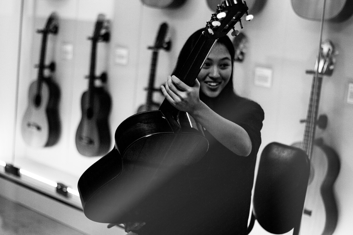 SFCM student Nathania Isnandar enjoys trying out the Hauser II during a Harris Collection Wednesday session