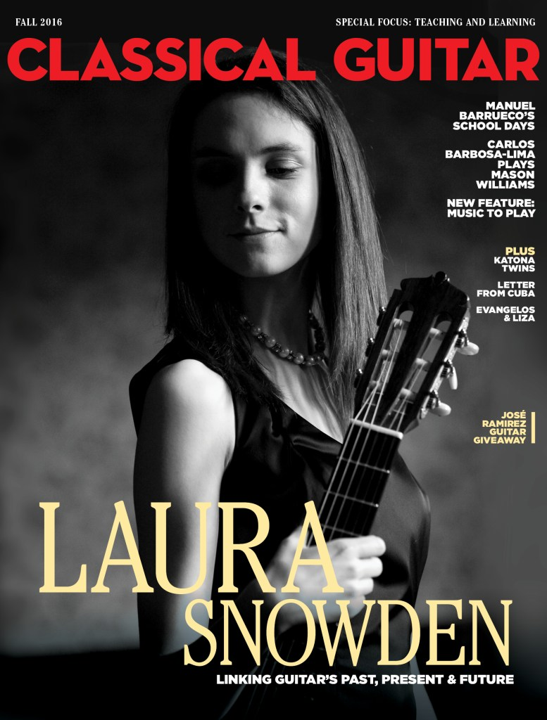 Classical Guitar Magazine Fall 2016 383 with a photo of Laura Snowden