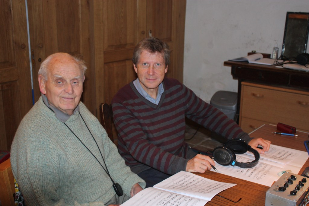 John Taylor, right, with composer Stephen Dodgson, who wrote many pieces for solo guitar, in 2010