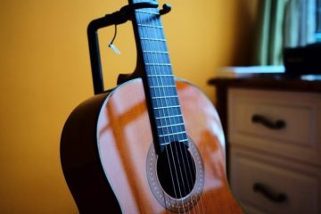 classical guitar on stand