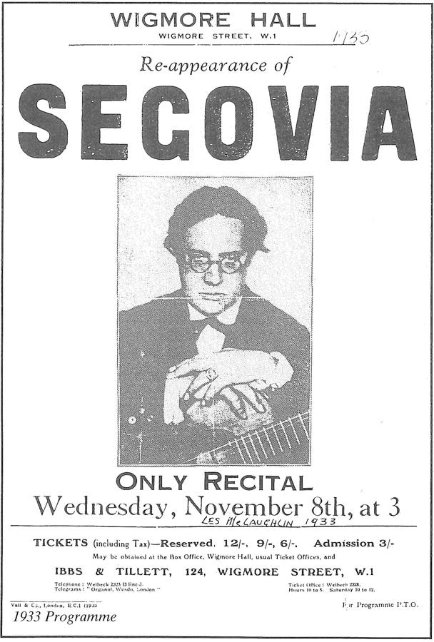 Classical guitarist Andres Segovia performance poster