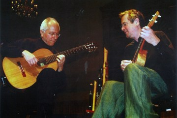 Classical guitarists John Williams and Richard Harvey