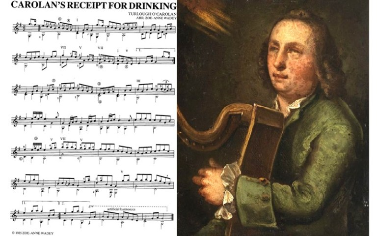 carolans receipt for drinking classical guitar music notation and painting of turlough o'carolan