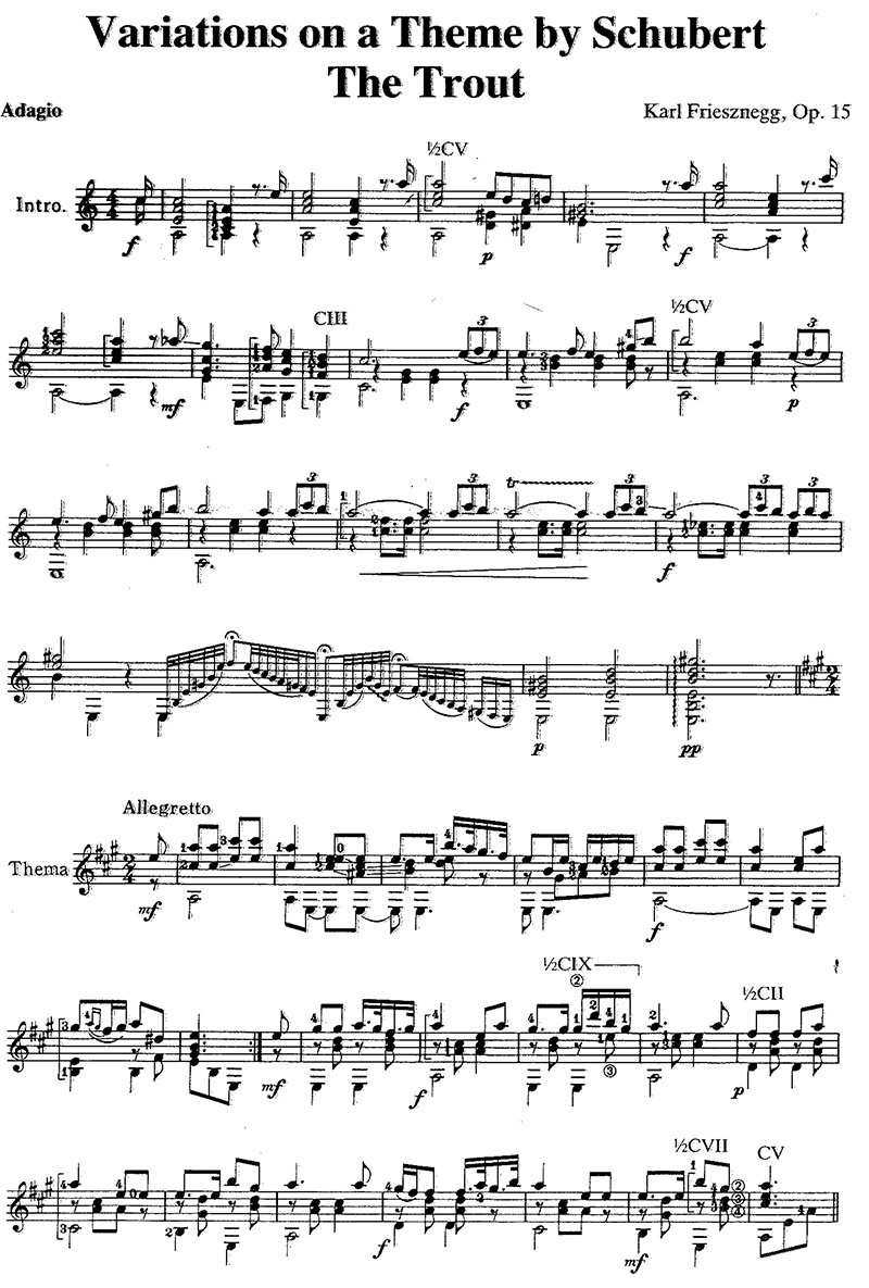 Karl Friesznegg's Variations on a Theme by Schubert, 'The Trout' classical guitar sheet music page 1