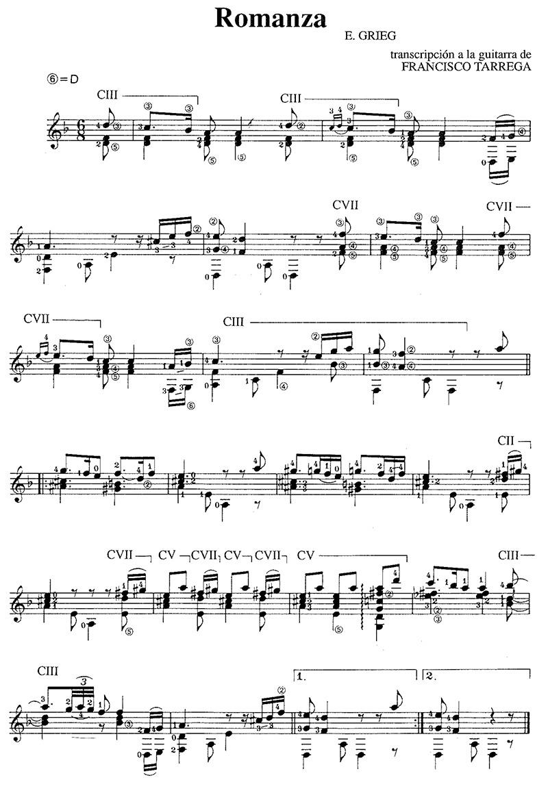 "Grieg ""romanza"" classical guitar sheet music"