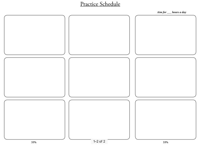 New Year 2019 Practice Schedule Blank