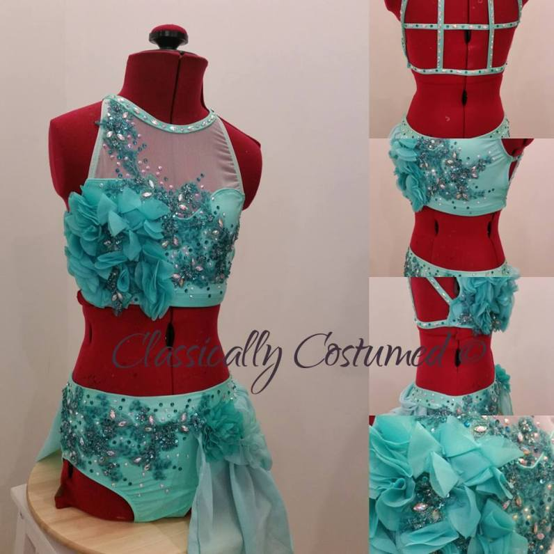 mint and teal lyrical dance costume
