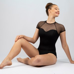 Diamond Mesh Cap Sleeve Leotard