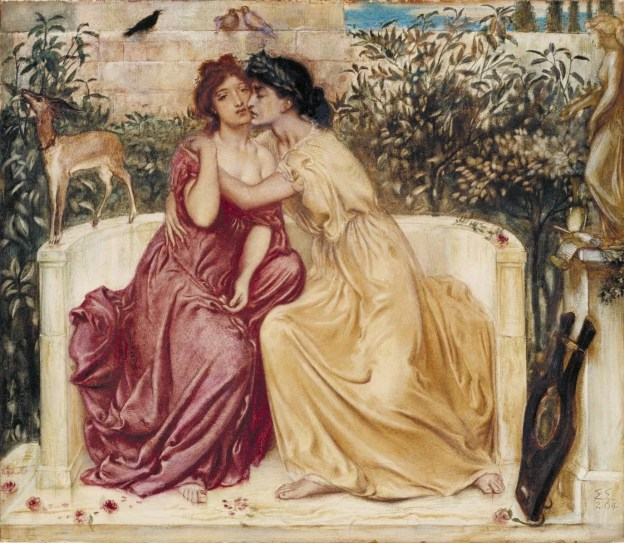 Painting of Sappho with a woman