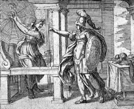 Sketch of Athena and Arachne