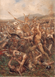 Painting of the battle of Teutoburg