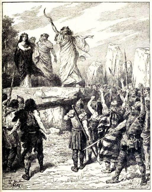 Druids inspiring Celtic warriors to fight