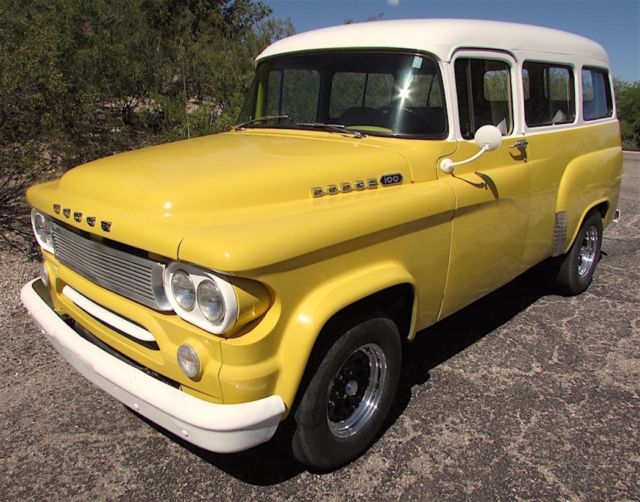 1963 Dodge D 100 Town Wagon Panel Truck Yellow Amp White