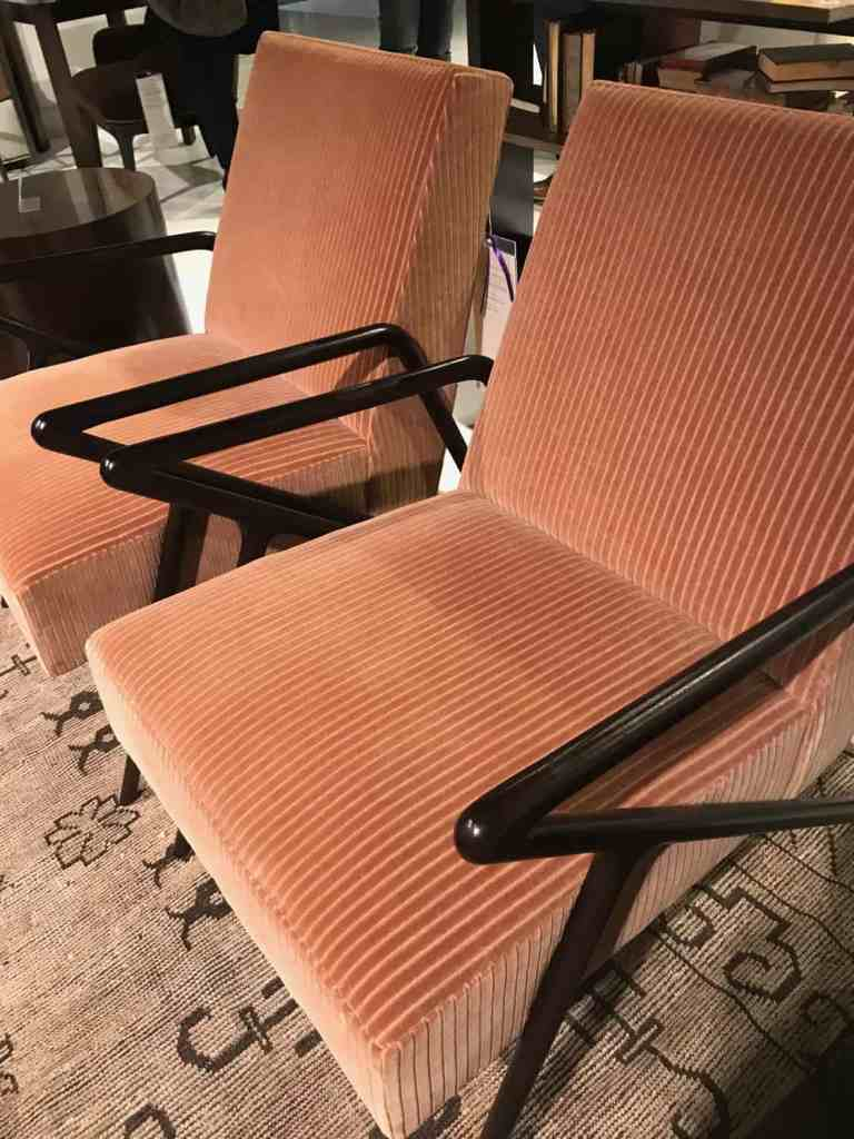 Century coral velvet chairs