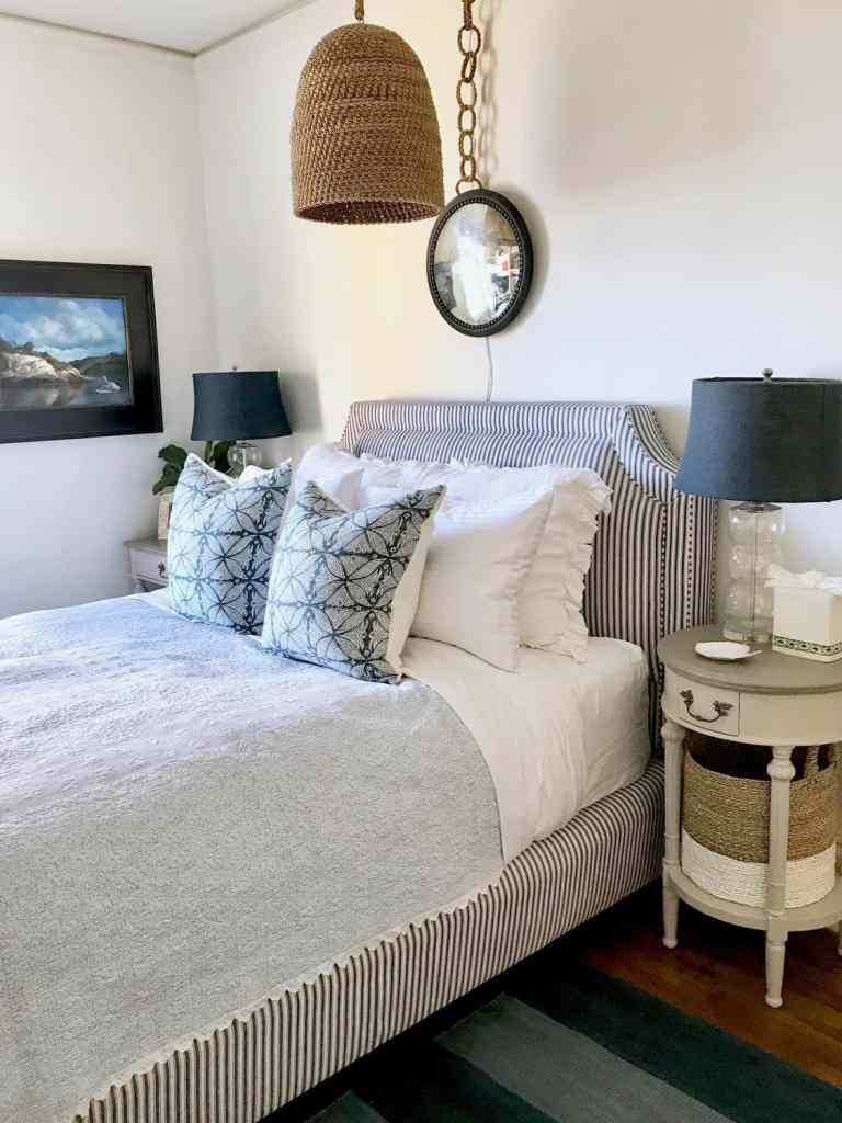 small blue and white bedroom