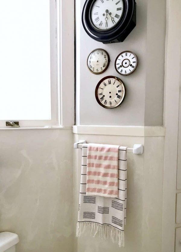 Vintage clock faces and Turkish towels