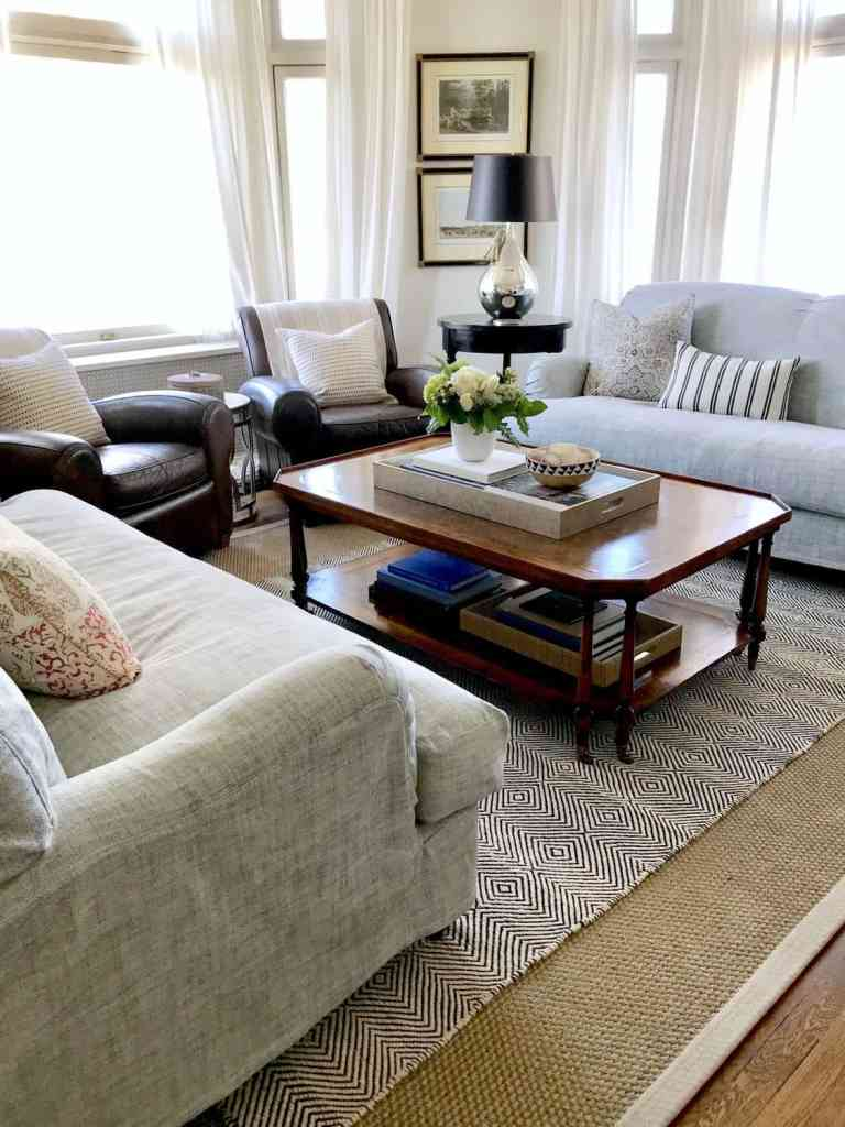 layer rug over seagrass, lighten your living room