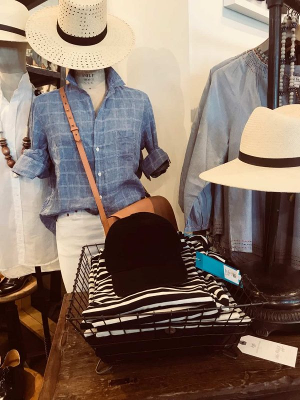 straw hats and linen and striped top