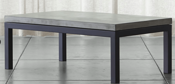Crate and Barrel is on a Roll cement and iron coffee table
