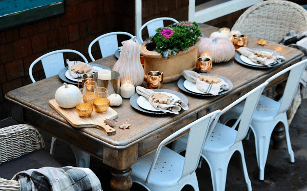 Thanksgiving Table with Wooden Trees from Target