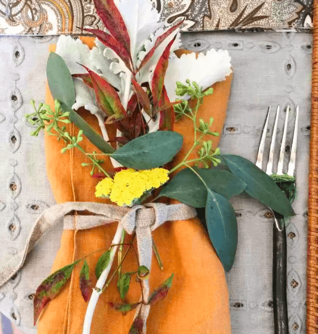 Flowers and Leaves in Napkin for Thanksgiving