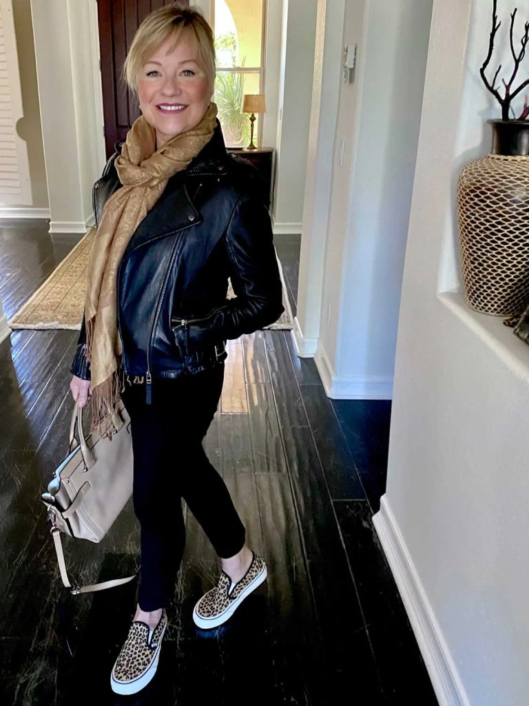 Mary Ann Pickett in leather jacket and sneakers