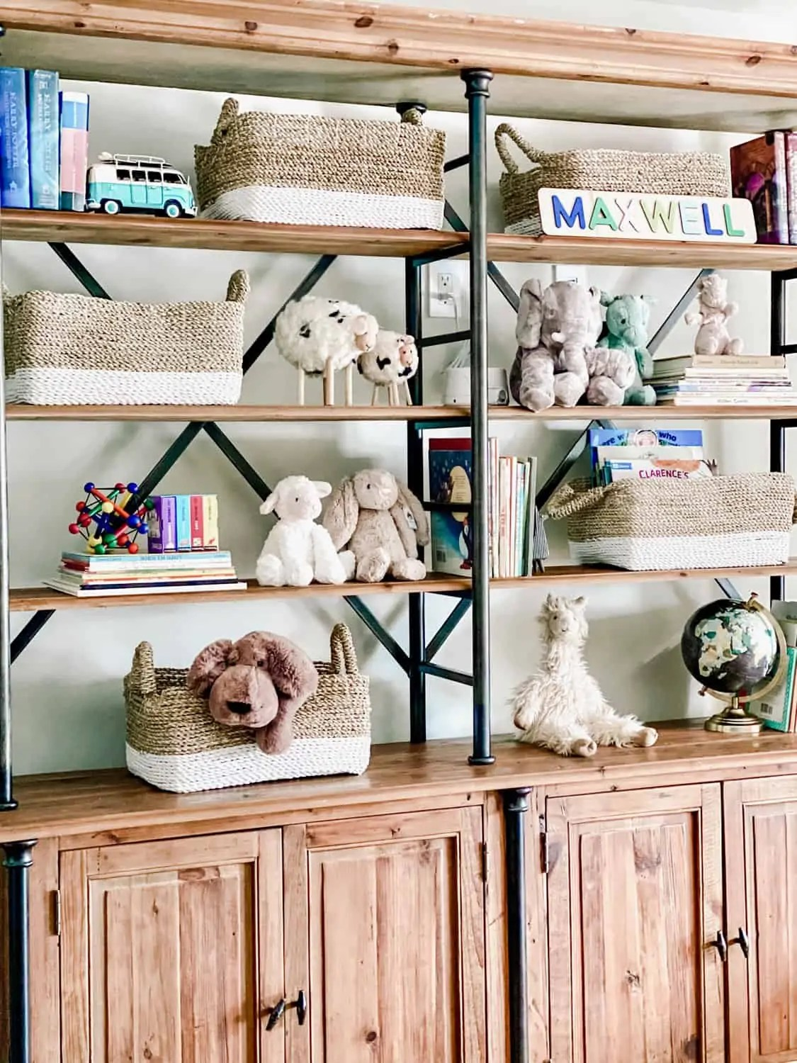 Industrial Bookshelves In Nursery Styled By Mary Ann Pickett