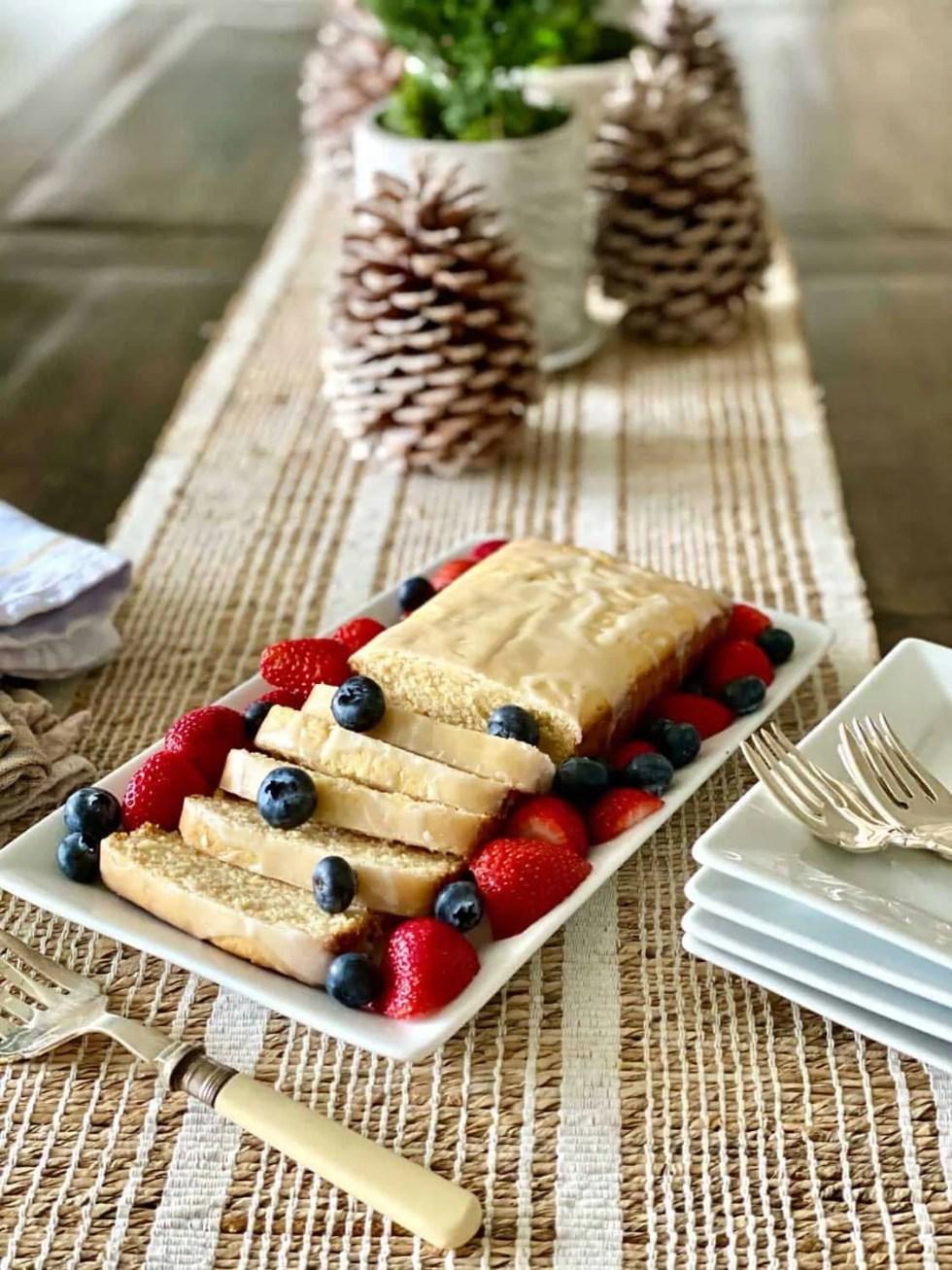 Lemon Cake with Berries for Christmas Family Brunch