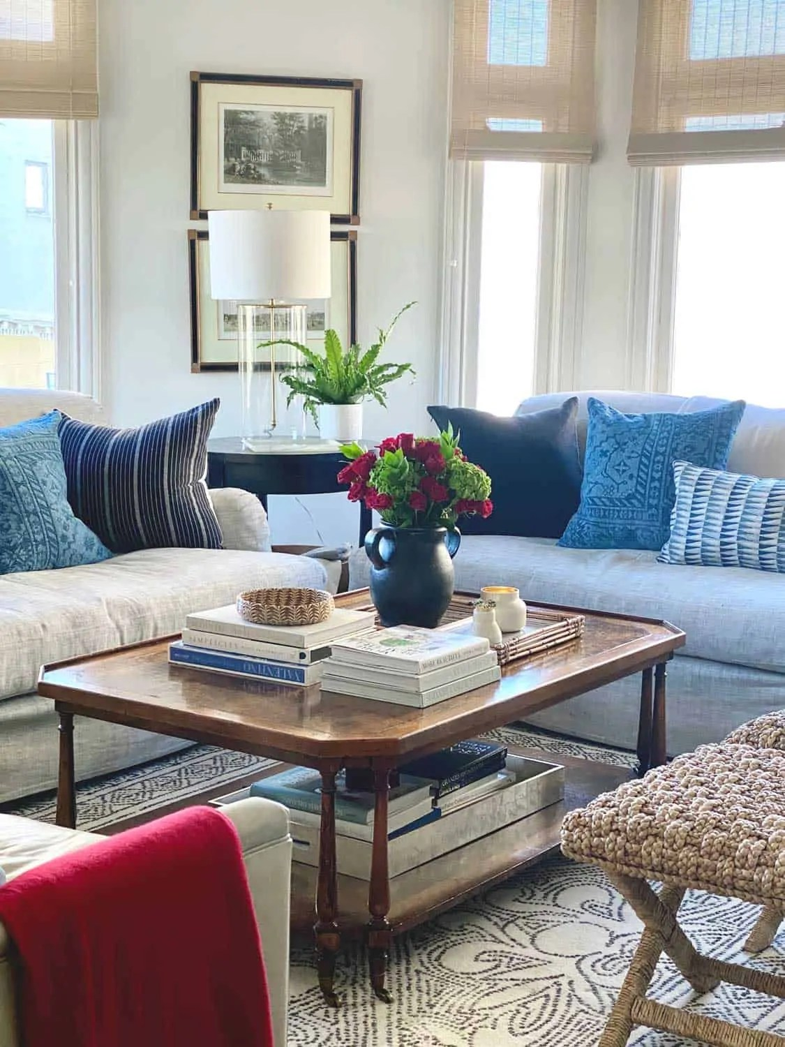 The San Francisco Living Room of decorator Mary Ann Pickett with touches of red