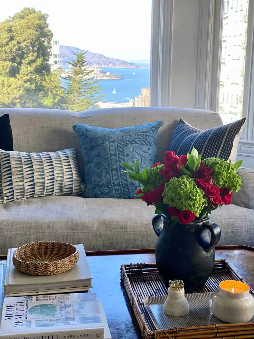 Blue and Black Throw pillows with a view of Alcatraz Island