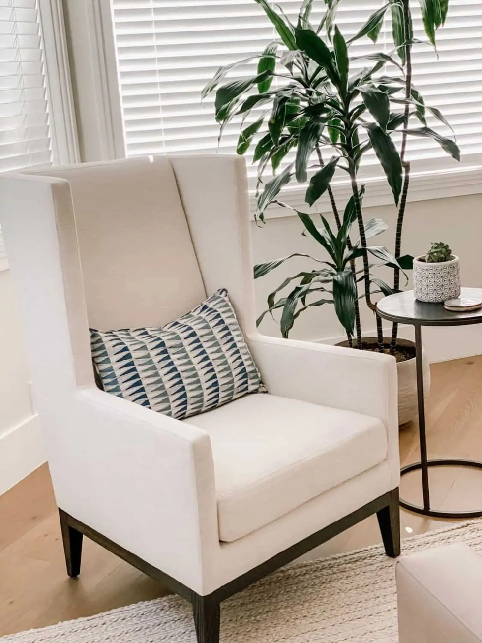 Modern Wing Back Chair in white performance fabric with Walter G. lumbar